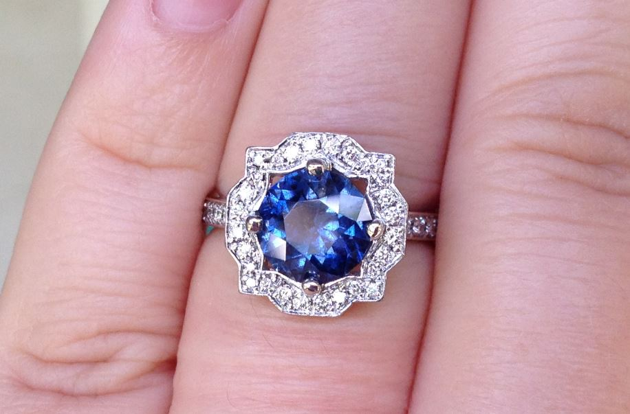 Color Shift Sapphire Harry Winston Inspired Halo The